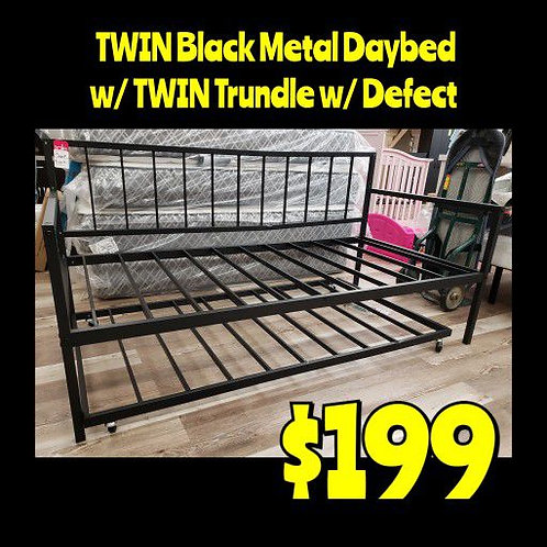 Twin Black Metal Daybed & TWIN Trundle w/ Defect