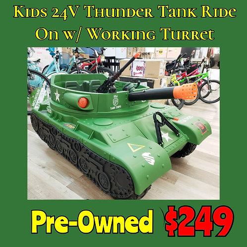 24V Kids Thunder Tank w/ Rotating Turret: Pre-Owned