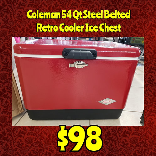 Coleman Steel Belted 54 Qt Retro Cooler Ice Chest