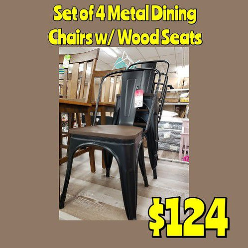 Set Of 4 Black Metal Dining Chairs w/ Wood Seats