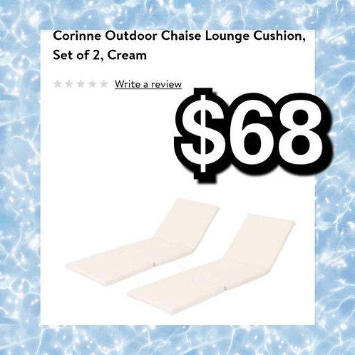 Corrine Outdoor Patio Cream Chaise Lounge Cushion Set Of 2