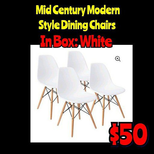 Set Of 4: In Box Assemble Yourself WHITE Mid Century Modern Style Dining Chairs
