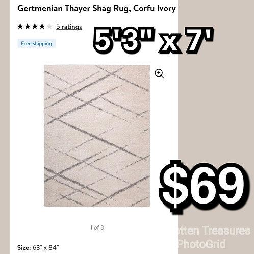 Gertmenian Thayer Shag Rug : Corfu Ivory 5x7