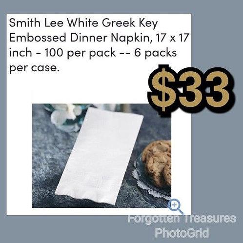 """Smith Lee White Greek Key Embossed 17"""" x 17"""" 6 Sleeves Of 100"""