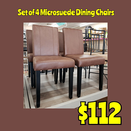 Set of 4 Chocolate Microsuede Dining Chairs