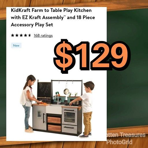 Kidkraft Farm To Table Easy Assembly Kitchen Playset w/18 Accessories