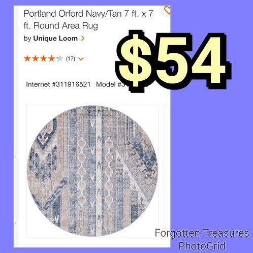 Portland Orford Navy & Tan 7' Area Rug