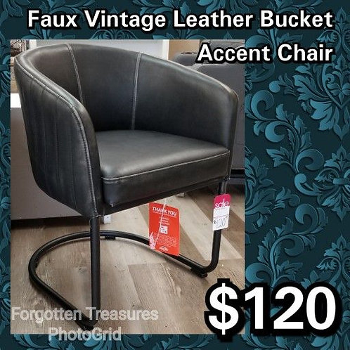Faux Vintage Leather Bucket Cantilever Accent Chair