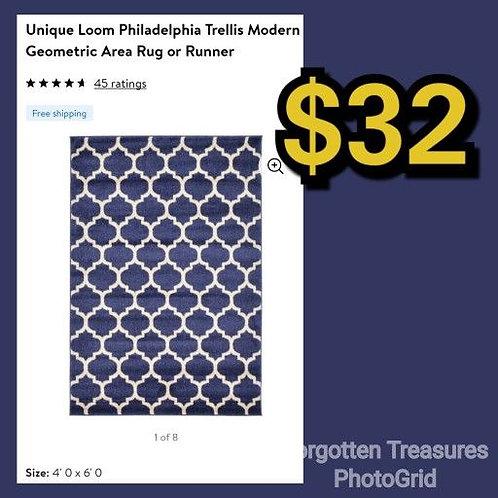 Unique Loom Philadelphia Trellis Modern Blue 4' x 6' Area Rug