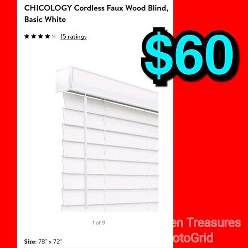"""Chicology 78"""" x 72"""" White Cordless Faux Wood Blind"""