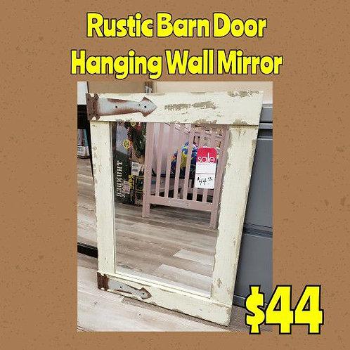 Rustic Farmhouse Style Barn Door Hanging Wall Mirror
