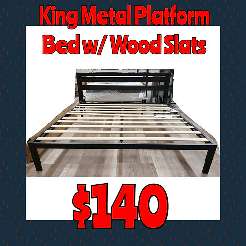 Zinus KING Metal Platform Bed w/ Wood Slats