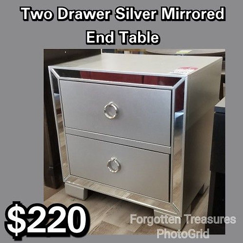 Two Drawer Silver Mirrored End Table