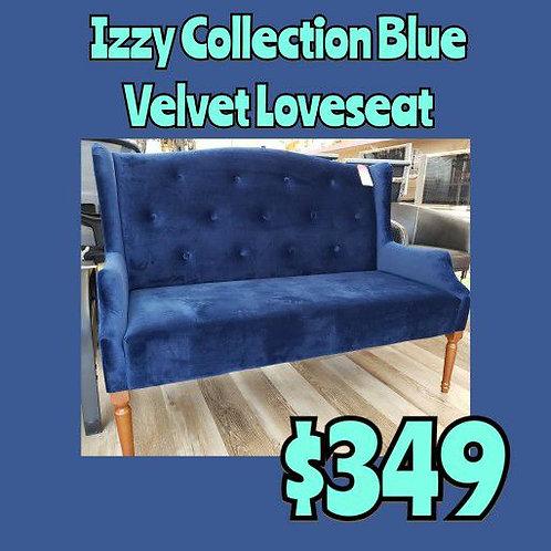Izzy Collection Blue Velvet Loveseat Sofa