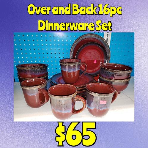 Over And Back 16pc Dripware Style Dinnerware Set