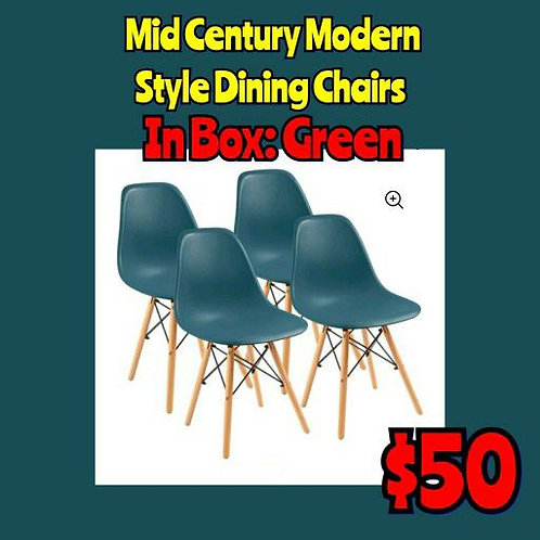 Set Of 4: In Box Assemble Yourself GREEN Mid Century Modern Style Dining
