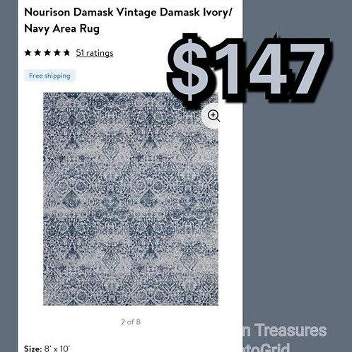 Nourison Damask Ivory Navy Vintage 8' x 10' Area Rug