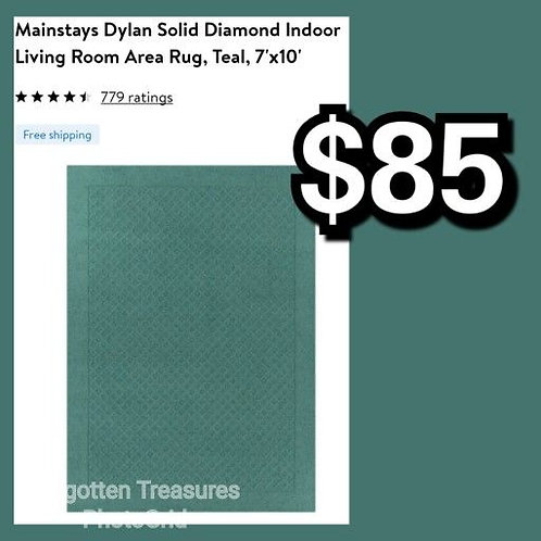 Mainstays Dylan Solid Teal Diamond 7' x 10' Area Rug