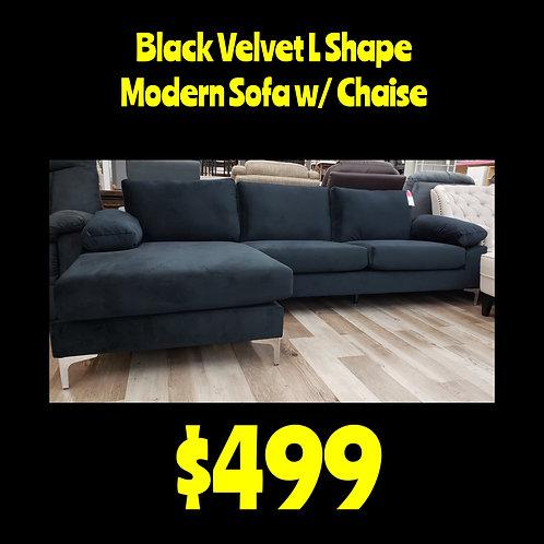Black Velvet L Shape Modern Sofa W/ Chaise
