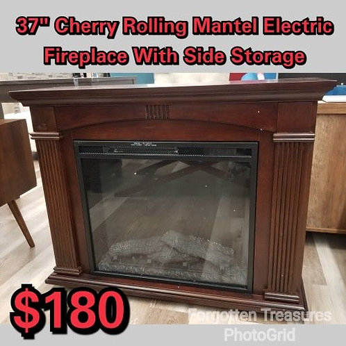 """37"""" Cherry Rolling Mantle Electric Fireplace With Side Storage"""