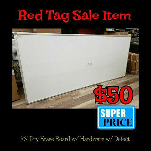 """96"""" Dry Erase Board w/ Hardware to Hang w/ Small Defect"""