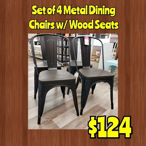 Set Of 4 Metal Dining Chairs W/ Wood Seats
