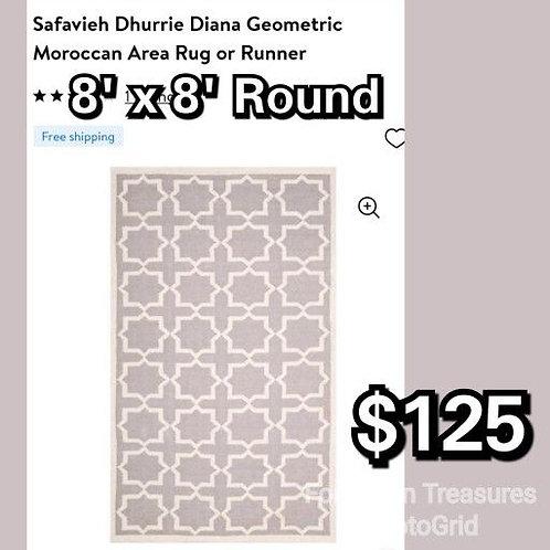Safavieh Dhurrie Geometric Woven Moroccan ROUND 8' x 8' Area Rug