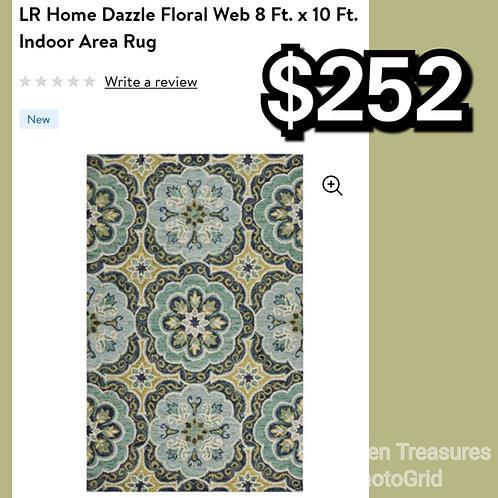 LR Home Dazzle Floral Web 8x10 Indoor Area Rug