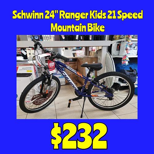 "Kids 24"" Schwinn Ranger 21 Speed Mountain Bike"
