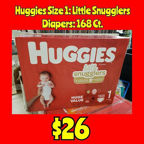 Huggies Size 1 Little Snugglers Diapers: 168 Ct