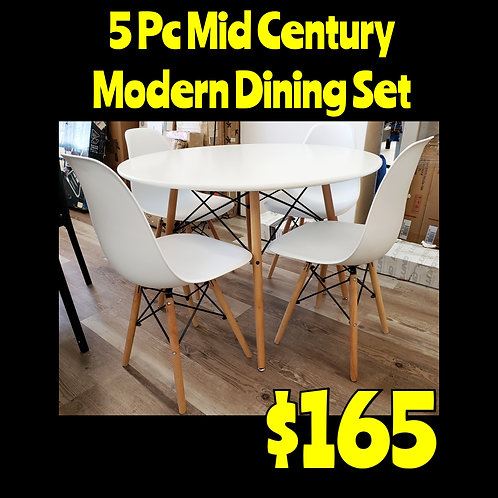 5pc Mid Century Modern Style Dining Set: