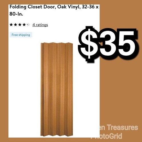 """Folding Accordion Oak Vinyl 24"""" to 36"""" x 80"""" Door"""
