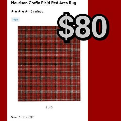 """Nourison Grafix Red Plaid 7'10"""" x 9'10"""" Area Rug"""