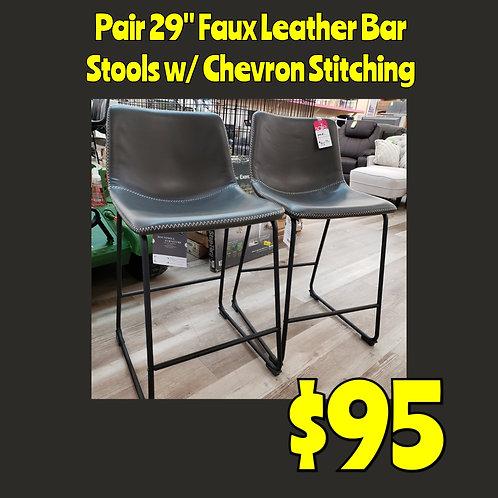 "29""  Faux Leather Bar Stools w/ Chevron Stitching"