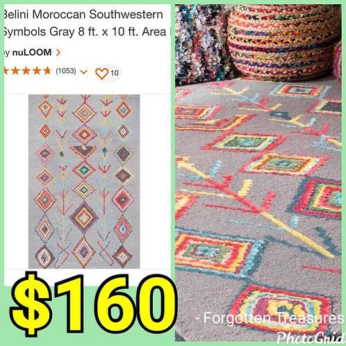 Belini Moroccan Southwest Symbols Gray 8' x 10' Area Rug