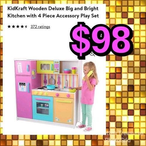 Kidkraft Deluxe Big & Bright Kitchen w/4 Piece Accessory Set