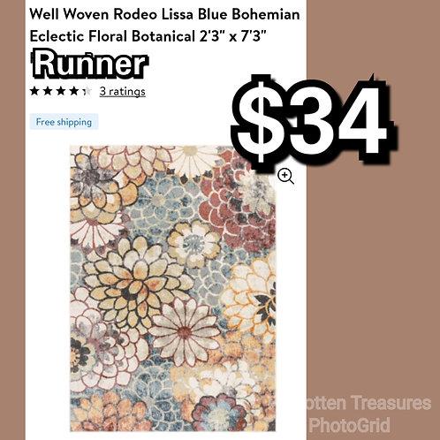 "Well Woven Rodeo Lissa Blue Bohemian Eclectic Floral 2'3"" x 7'3"" Runner"
