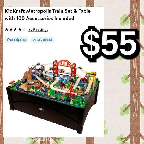 NEW In Box:  Kidkraft Metropolis Train Set & Table With 100 Accessories