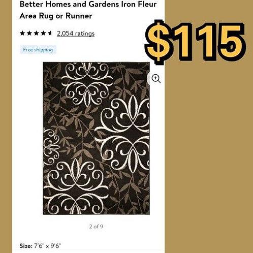 "Better Homes & Gardens Iron Fleur Brown 7'6"" x 9'6"" Area Rug"