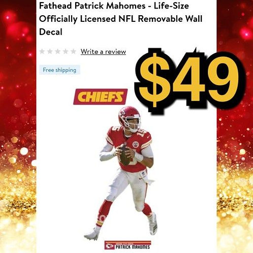 Fathead Licensed NFL Chiefs Patrick Mahomes Life Size Removable Wall Decal