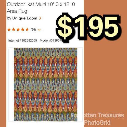 Unique Loom Outdoor Ikat Multi Color 10' x 12' Rug