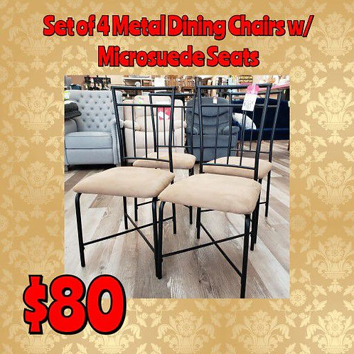 Set Of 4 Metal Dining Chairs w/ Microsuede Seats