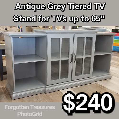 """Antique Grey Tiered TV Stand For TVs Up To 65"""""""