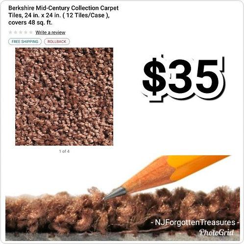 "Berkshire Mid Century Carpet Tiles Box of 12 24"" x 24"" Tobacco Brown"
