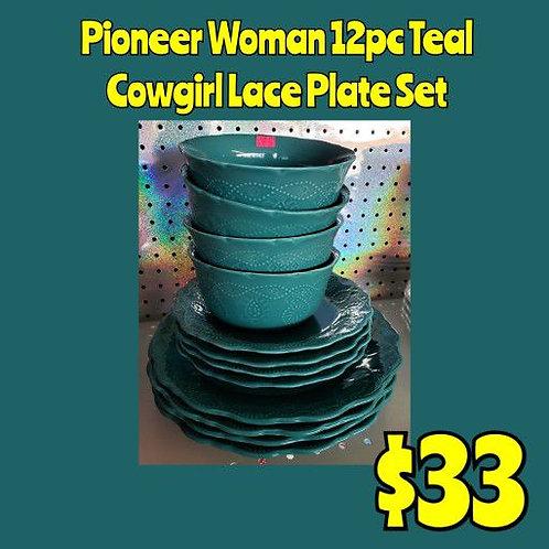 Pioneer Woman 12pc Teal Dish Set