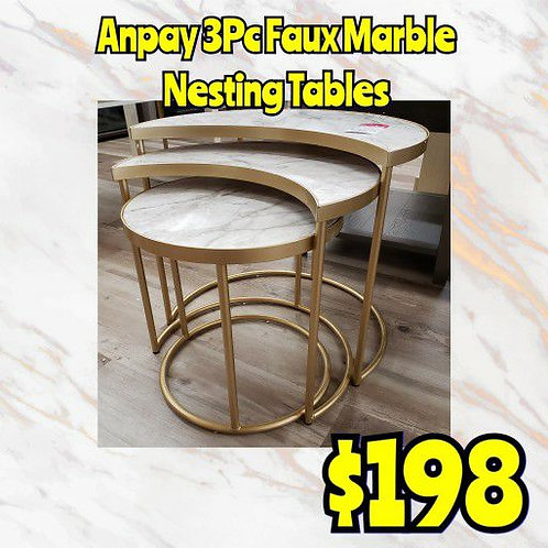 Anpay 3Pc Faux Marble Gold Nesting Tables