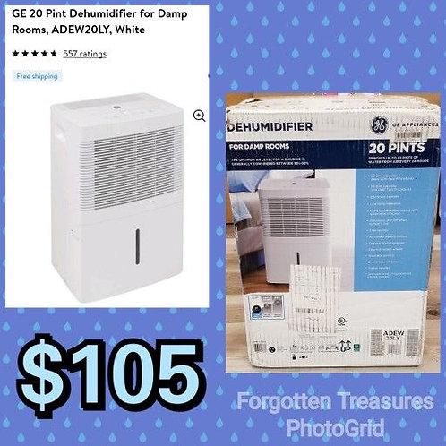 GE White 20 Pint Damp Room Dehumidifier