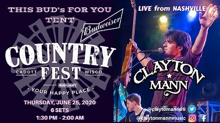 CLAYTON MANN Country Fest 2020 Cadott Wi