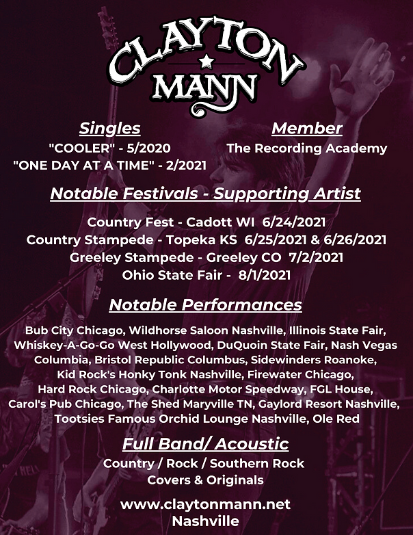CLAYTON MANN One Sheet, Nashville Recording Artist