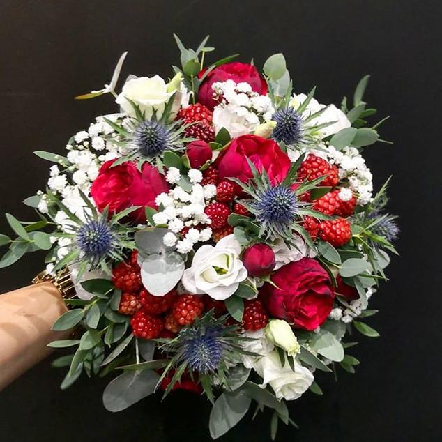 Bouquet de mariée bleu blanc rouge Ateli